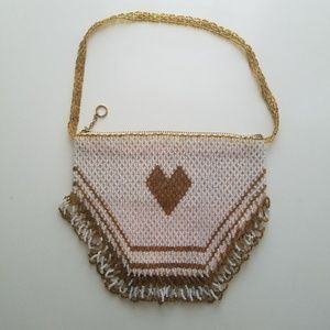Vintage handmade beaded mini purse with fringe